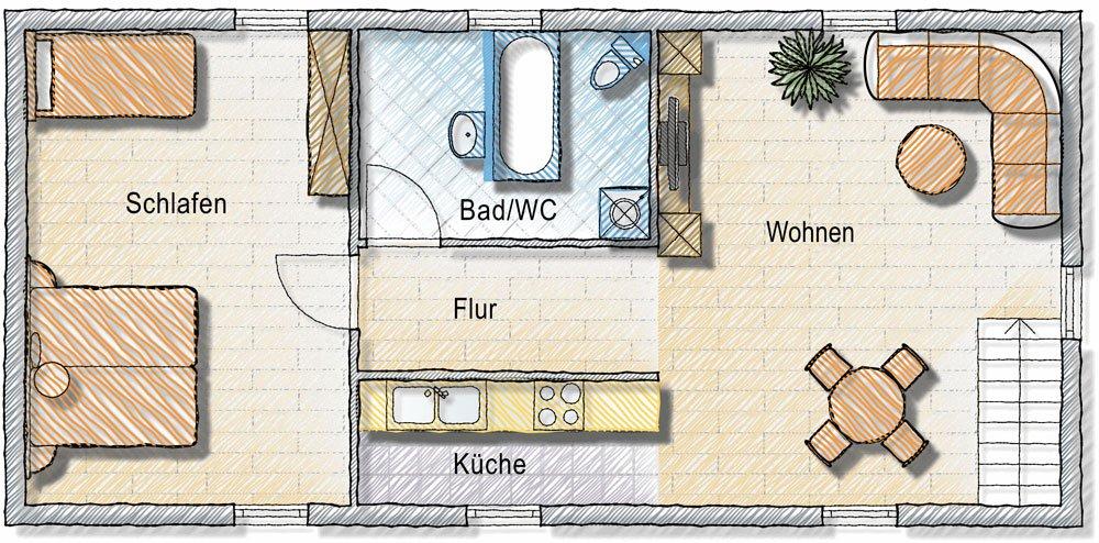 Ferienwohnung mit Küche, Wohnzimmer und Bad Nähe Badesee und Skigebiet in Kärnten