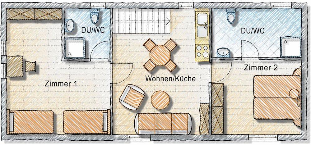 Ferienwohnung mit 2 getrennten Schlafzimmern und Küche in Kärnten - Gerlitzen am Ossiacher See